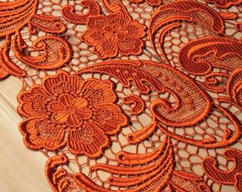 orange lace fabric, crochet lace fabric,  bridal lace, venise lace fabric