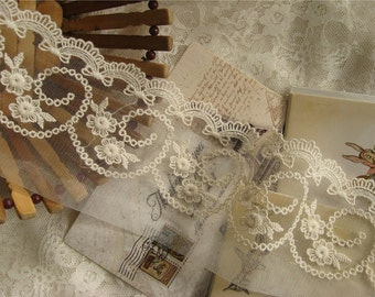 ivory lace trim , cotton embroidered mesh lace with scalloped trim