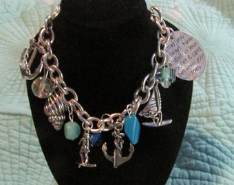 Beach Charm bracelet with anchors surfer shells and beads vintage marcella