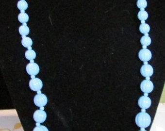 Baby Blue Pumpkin bead necklace,graduated sizes