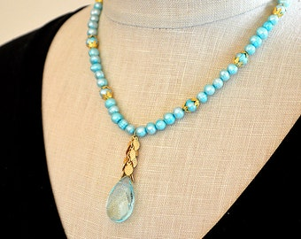 Turquoise freshwater pearl necklace Aqua crystal teardrop and shimmering gold leaves pendant necklace  Y necklace  Party jewelry for women