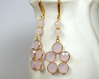 Sophisticated rose quartz earrings Pink gemstone chandelier earrings Gold bezel earrings Semi precious gemstone earrings Rose quartz jewelry