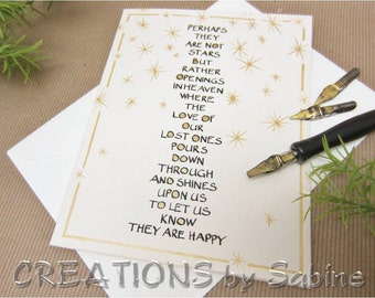 Sympathy Card Handwritten Calligraphy Original Art Cream Off White Beige Black Gold Stars Personalization available READY TO SHIP (50)