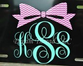 Chevron Bow Monogram Car, yeti Tumbler, cup, etc Decal (made to order)