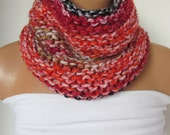 Red Black and Orange Knitted  Cowl Scarf -Neckwarmer Winter Accessories,Fall Fashion.Holiday Accossories,Chunky Scarf, Circle Scarf, Unisex