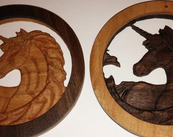 Carved Unicorn Carving in Walnut and Cherry