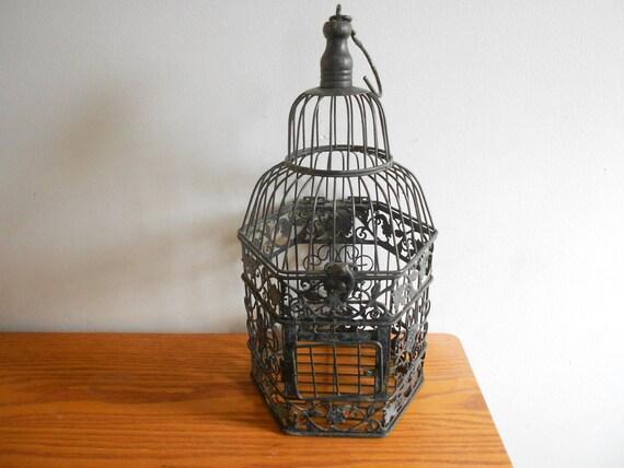 Cage oiseau noir d coratif d coration mariages titulaire de - Cage oiseau decoration ...