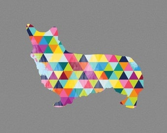Corgi Dog Breed Print Poster grey gray geometric Dog Pet Design Bright Colorful Colourful home decor present gift