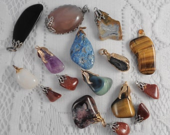Gemstone Pendants Charms for Jewelry Assemblage Supplies Turned Rocks Tiger Eye Agate Turquoise Onyx Birthstones