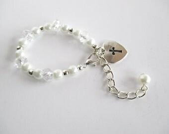 Christening Bracelet, Baptism Bracelet, First Communion Bracelet, Baptism Gift Bracelet, Godparent Gift, Baptism Keepsake, Baby Bracelet