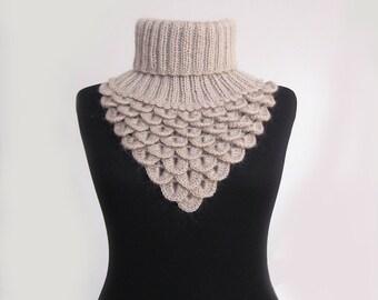 Crochet Lace Scarf Collar, Fashion Accessories, Soft Crochet Neck Warmer, Crocodile Scarf, Neck Cowl, Winter Accessories,color vizon