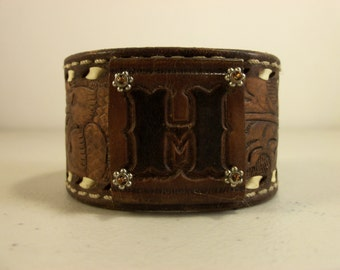 Cowboy Cuff from Repurposed Cowboy Belt with the Letter H - Made in Texas