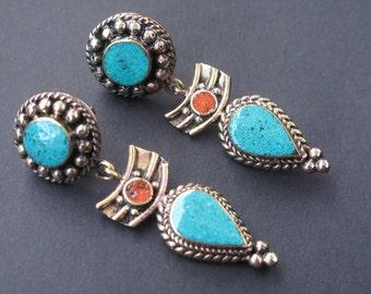 Turquoise Tibetan earrings, Nepal earrings, ethnic jewelry TS-TTP