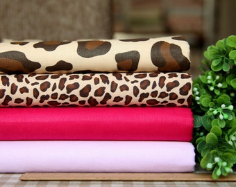 4 pieces Beige Brown Red Pink Leopard Group Series Color collection Cotton Cloth  Quilt Fabric-DIY Handmade Fabric Cloth