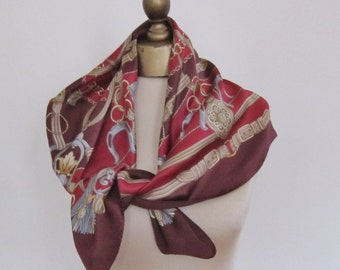 Equestrian large SILK scarf, made in ITALY, Art of Silk.