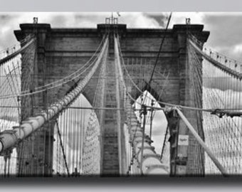18x64 inches New York City brooklyn bridge hdr monochrome Canvas oil printing.