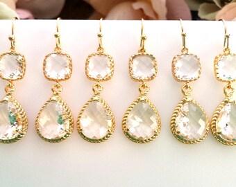 Clear crystal Earrings, gold wedding earrings, Drop, Dangle Earrings,bridesmaid gifts, Bridal gift,Wedding jewelry, Bridesmaid earrings