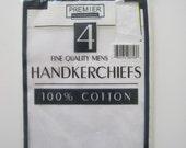 Handkerchiefs Fine Quality Pocket Mens 4 100% Cotton Premier International Vintage E660s
