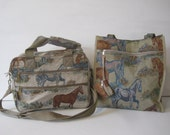 Pioneer Express Bag Tote Shoulder Messenger Horse Print Travel Set Lot of 2 Vintage E901Bs