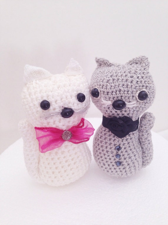 Cake The Cat Amigurumi : Cat toy amigurumi Cake Topper Two Crocheted cats by ...