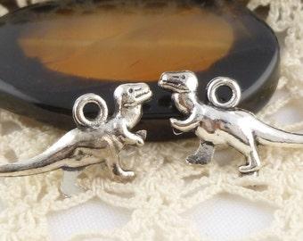 Tyrannosaurs Rex T-Rex Dinosaur Charms , Antique Silver (6)