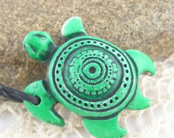 Large Carved Green Turtle Pendant (1)