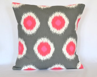 Pink Grey Ikat pillow cover throw pillow accent pillow cushion cover  pillow cover decorative pillow