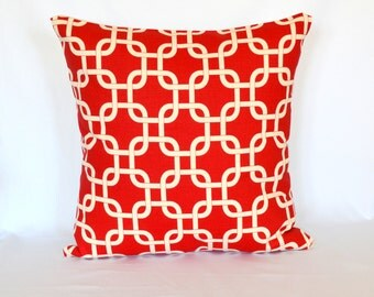 Red Chainlink Pillow, Decorative Pillow, Cushion Cover, Accent Pillow, Euro Sham, Throw Pillow