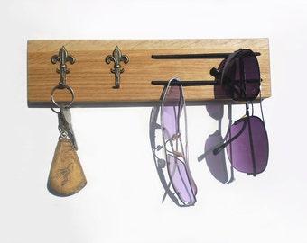 Fleur de lis sunglasses and key rack, key holder, sunglasses holder