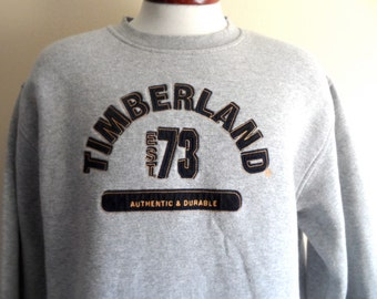 vintage 90s Timberland black yellow stitching embroidered applique spell out logo heather grey fleece graphic sweatshirt crew neck pullover