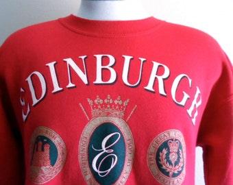 vintage 90's Edinburgh Royal Society of Golf Scotland club graphic sweatshirt crew neck red fleece gold black white puffy print logo crest