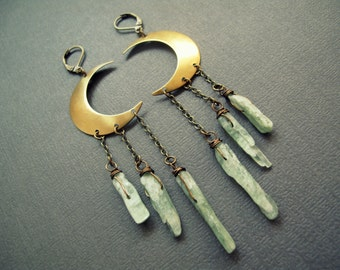 Raw Stone Earrings - Green Kyanite Earrings - Boho Earrings - Kyanite Crystal Earrings - Long Dangle Earrings - Crystal Moon Earrings
