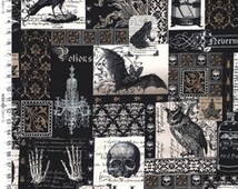 Fat Quarter Nevermore Collage Gothic Design Cotton Quilting Fabric 50cm x 55cm
