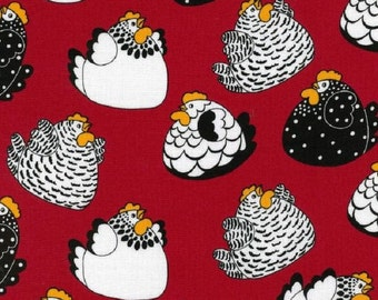 Fat Quarter Brite Happy Hens Chickens Red Cotton Quilting Fabric Nutex 86800