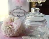 POWDER JAR Set - Shabby Chic Powder Puff, Dusting Powder, Glass Powder Jar
