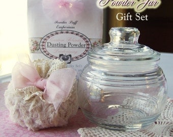POWDER JAR Set - Shabby Chic Powder Puff, Dusting Powder, Glass Powder Jar