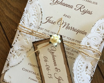 Doily Vintage wedding invitation