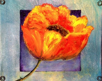 Original art, acrylic, mixed media, small painting,  castteam, red poppy painting, metal sculpting  canvas  contemporary, sky