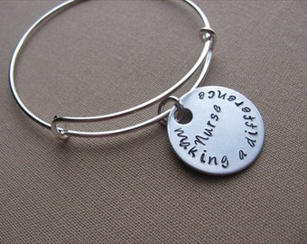 """SALE- Hand-Stamped Bangle Bracelet- """"nurse - making a difference""""- ONLY 1 Available"""