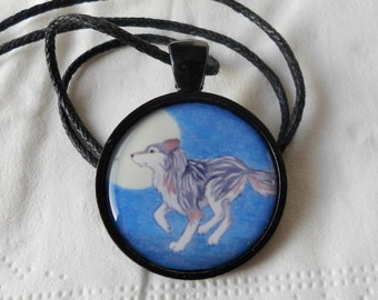 wolf running and full moon pendant - dog jewelry - forest animal - woodland necklace