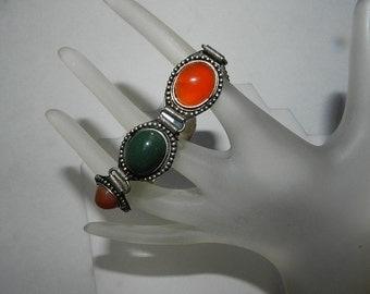 Vintage Agates Mid Century Bracelet - Silver Link Jewelry