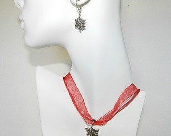 Vintage Sterling Silver Marcasite Snow Flake Set  Jewelry Earrings & Necklace