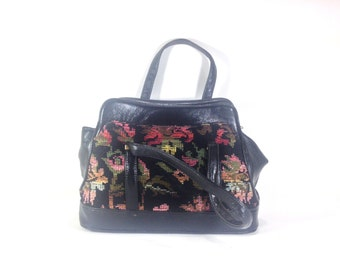 1960s Floral Carpet Handbag - Floral Tapestry Bag - Floral Carpet Satchel - 1960s Satchel