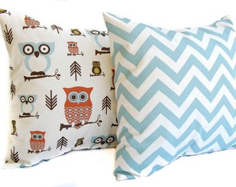 Throw pillow covers, Pillow Shams, Cushion covers Rust, Natural, and Smokey Blue Chevron zig zag and Owls fall home decor