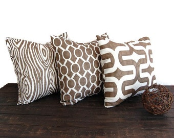 Throw pillow covers set of three cushion covers Italian Brown pillows brown throw pillows