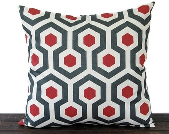 "Red and Gray throw pillow cover One 16"" x 16"" cushion cover red charcoal gray ivory natural modern minimalist decor"