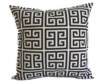 Decorative Throw pillow cover One Black and Natural Greek Key cushion cover sham modern home decor