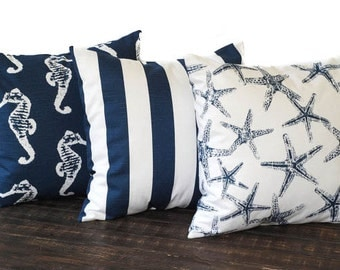 Throw pillow covers set of three cushion covers decorative pillows new navy blue and white nautical beach decor