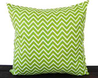 Throw pillow cover chartreuse lime green cushion cover pillow sham Cosmo chevron print
