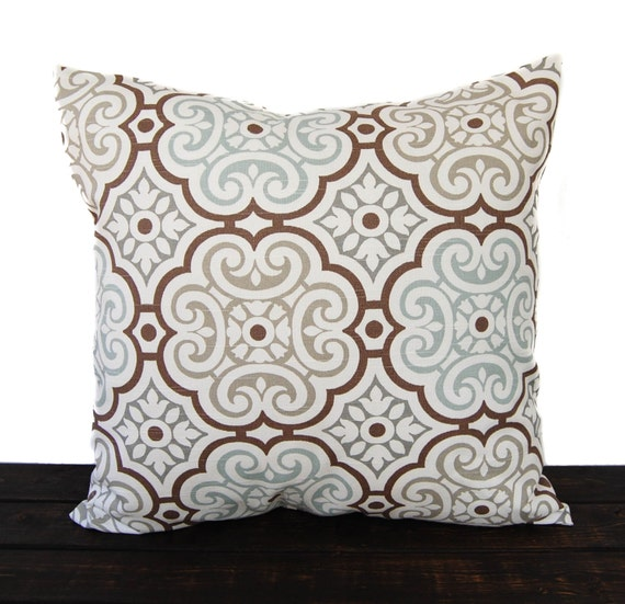 Throw pillow cover cushion cover gray brown light blue brown